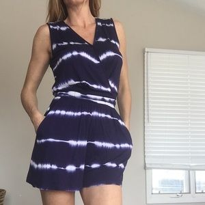 Other - Blue tye dye romper with pockets